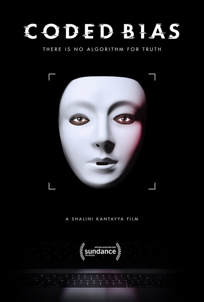Movie poster Coded Bias, featuring a white mask on a black background